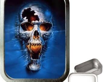 Blue skull 2oz silver tobacco tin,pill box,storage tin,keepsake