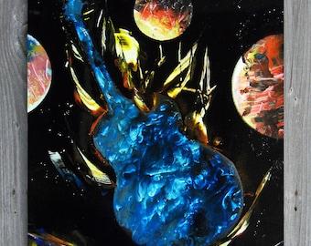 Contemporary table bombs aerosol Spray painting street art - guitar planet