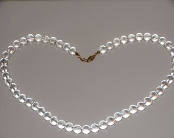 """Vge Sterling Natural Rock Crystal 10mm Bead 19"""" Inch Necklace"""