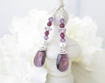 Purple earring, Swarovski crystal earring, Crystal and gemstone earring, Sterling silver earring, Christmas gift, Unique gift for her