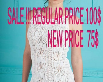 SALE Evening White Hand Knitting Lace Dress Open shoulders Free Shipping