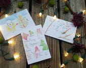 Watercolor Christmas Cards- set of 3
