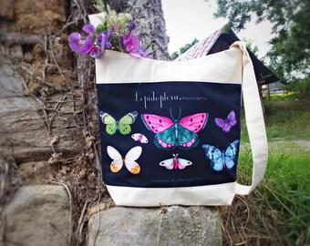 Sac bandoulière tissu papillon, sac coton imprimé papillons, tote-bag bandoulière, sac courses, sac fourre-tout, sac cabas bandoulière plage