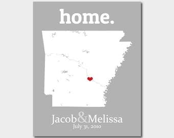 Birthday Gift Her, Arkansas Wall Art, St Valentines Day For Wife, Graduation Decorations, Fayetteville Arkansas Map - Any State Or Country