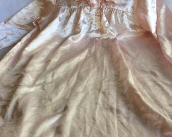 Pink Ruffle Nightgown,Pink Satin Nightgown,Pink Silk Nightgown,Retro Pink Nightgown,Long Pink Nightgown,Frilly Nightgown,Ruffle Nightgown