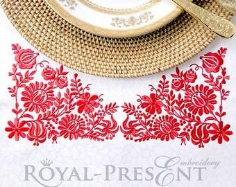 Machine Embroidery Design - Red Hungarian folk art (2 sizes)