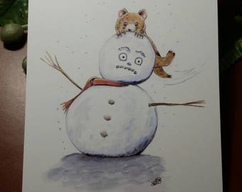 Postcard the snowman and the bear card