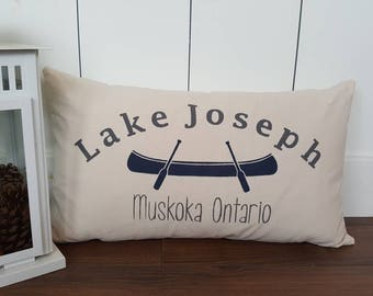 Custom Lake Pillow Cover. Lake Joseph Pillow.  Muskoka Gift.  Personalized Gift.  Custom Pillow Cover.  Burlap Pillow.  Custom Lake Pillow.