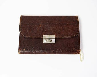 Vintage Hand Made Leather Wallet Brown