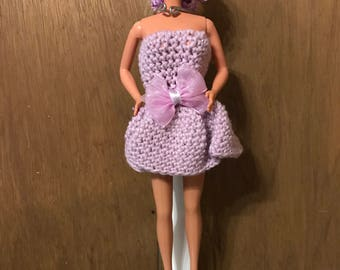 Handmade Crocheted Barbie Dress with shoes- Purple