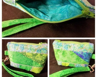 Patchwork,Quilted,Embroidered  Wristlet Pouch/ Coin Purse