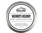 Wizard's Holiday // Cherry + Sweet Almond + Cream // 8oz Soy Candle