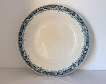Vintage plate, French ironstone, large serving plate, French transferware, retro dinnerware, St Amand, French faience, farmhouse antiques