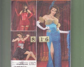 Can Can, Moulin Rouge Dance Costume Sewing Pattern/ Simplicity 2535 Saloon Wench, Barmaid Fitted Burlesque Dance Dress/ Size 8 10 12 14 16