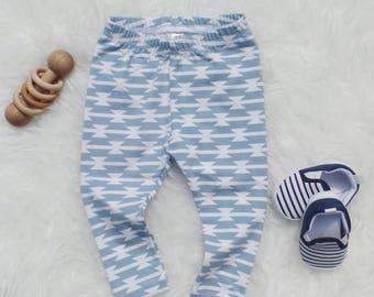 Newborn leggings || Baby leggings || Baby take home outfit || Denim blue tomahawk leggings || Baby pants || Baby shower gift
