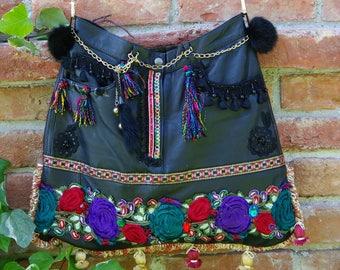 Leather bag, Bohemian bag, Boho chic bag, Crossbody leather bag, Designer bag, Gypsy bag, Art bag, Hippie bag, Handmade bag, Shoulder bag