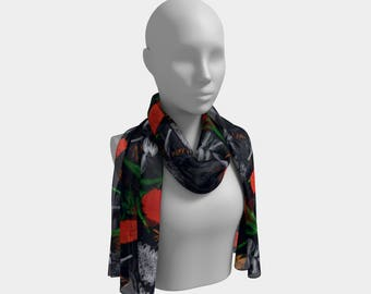 """10""""x45"""" - Long Scarf - Cute Australian Native Floral Long Scarf with Banksia and Grevillea against a navy blue background"""