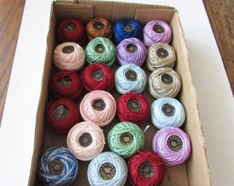 22 Vintage Royal Crochet Thread Cotton Perle Multi Colors New Old Stock