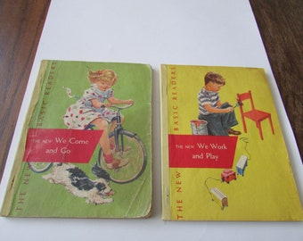 2 Vintage Dick & Jane Readers 1951 We Come and Go and We Work and Play Reader 1950's Paperback