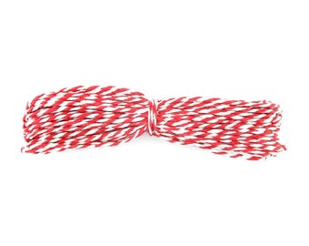 3 m cord bakers twine, red and white 1.4 mm (28A)