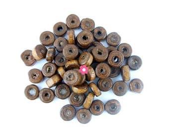 x 100 Perle rondelle wood Brown 8mm