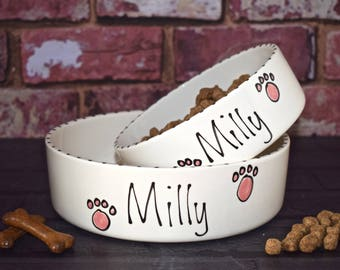 Hand painted personalised ceramic bespoke cat kitten Dog Puppy Small and medium whimsical bowl set 6 designs