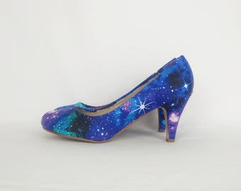 Galaxy shoes, galaxy heels, custom shoes, nebula shoes,goth shoes, women shoes, alternative, gift for her, bohemian, hippy style, rockabilly