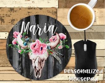 Personalized Mousepad | Boho Mousepad | Office Decor | Floral Mouse Pad