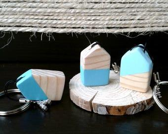 Keychain wooden house   Little wooden house keychain   Handmade   Celeste