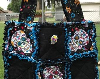 Sugar Skulls Rag Tote Purse Bag Sugar Skull Button Closure 5 Pockets