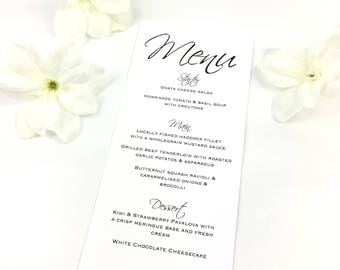 Elegant Black & White Script Wedding Table Menus