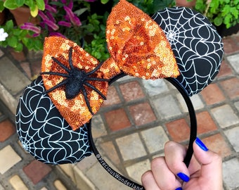 Orange Spiderweb Halloween Mouse Ears