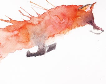 Pouncing Fox Watercolour Print