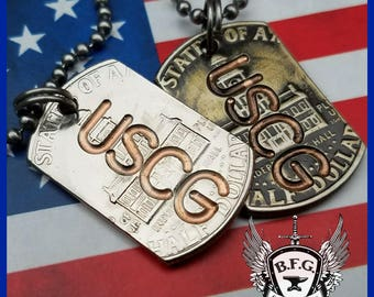United States Military Branch Engraved  Mini Dog Tag made from a Kennedy Bicentennial Half Dollar W/ 30 inch Stainless steel Ball Chain