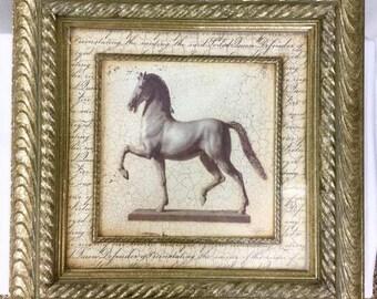 Vintage Custom Ornately Framed Horse Print