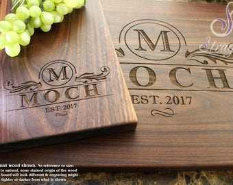 Personalized Monogram Cutting Board Set - Engrave Cutting Board and Cheeseplate, Custom Family Gift, Wedding and Housewarming Gift. 202
