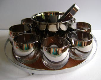Queen's Lusterware bar ware set / Retro / Silver Ombre Fade Vitreon / Vintage / ice bucket / glasses/ man cave / mid century / Father's day