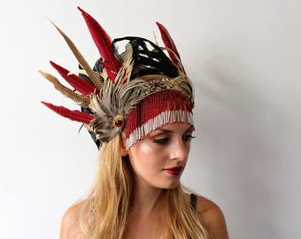 Natural and red feather headband with beaded fringe
