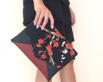 Envelope clutch bag cherry flowers, black and burgundy clutch, floral clutch purse, small crossbody bag