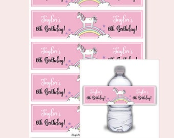 unicorn dreams party water bottle labels digital download print yourself