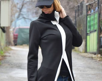 Plus Size Turtleneck Design Dress, Sexy Casual Dress, Asymmetrical Oversize Neoprene Dress by SSDfashion