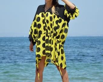 New Maxi Chiffon Tunic, Plus Size Polka Dots Tunic, Women Dresses, Loose Tunic, Maxi Dress, Beach Dress by SSDfashion