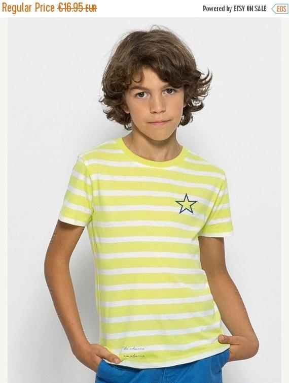 REBAJADO Boy/girl t-shirt stripes white-lime and navy star