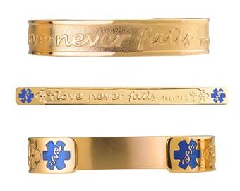 "1 Corinthians 13:8 PVD Gold 316L Christian Bracelet - 6"" Cuff ( fits 6.5-8.0"")-TP Blue-Free Custom Engraving, Card, Apps-5333G-TRBU"