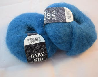 2 x 25g Baby kid Mohair Acrylic blend yarn in blue