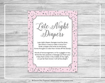 Pink and Silver Baby Shower Late Night Diapers Sign - Printable Baby Shower Late Night Diapers Sign - Pink and Silver Baby Shower - SP150