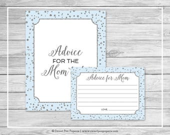 Blue and Silver Baby Shower Advice for Mom Cards - Printable Baby Shower Advice for Mom Cards - Blue and Silver Confetti Baby Shower - SP151