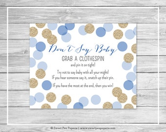 Blue and Gold Baby Shower Don't Say Baby Game - Printable Baby Shower Don't Say Baby Game - Blue and Gold Glitter Baby Shower - SP107
