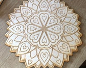 Love Crystal Grid - Heart Crystal Grid - 3, 6, 9  or 12 Inches - Wooden Crystal Grid - Sacred Geometry - Valentine's Day