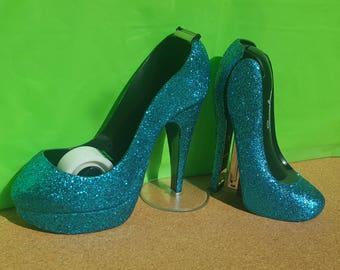 Extra Fine Turquoise Glitter Stiletto Stapler U0026 Tape Dispenser Set,  Turquoise Stapler, Swingline Stapler